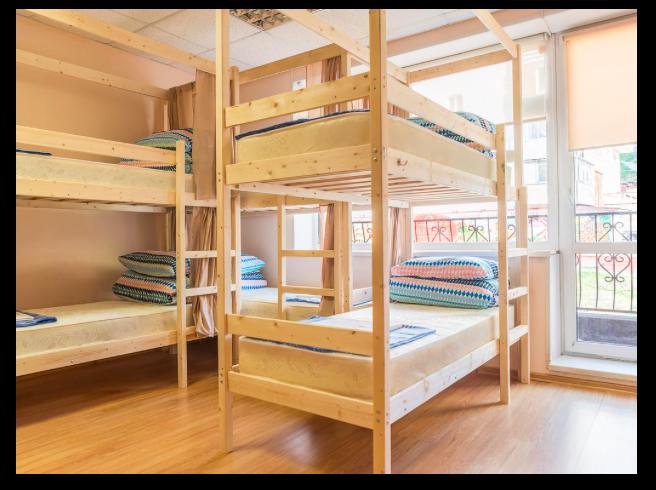 ホステルズルースウラジオストクのベッドルーム