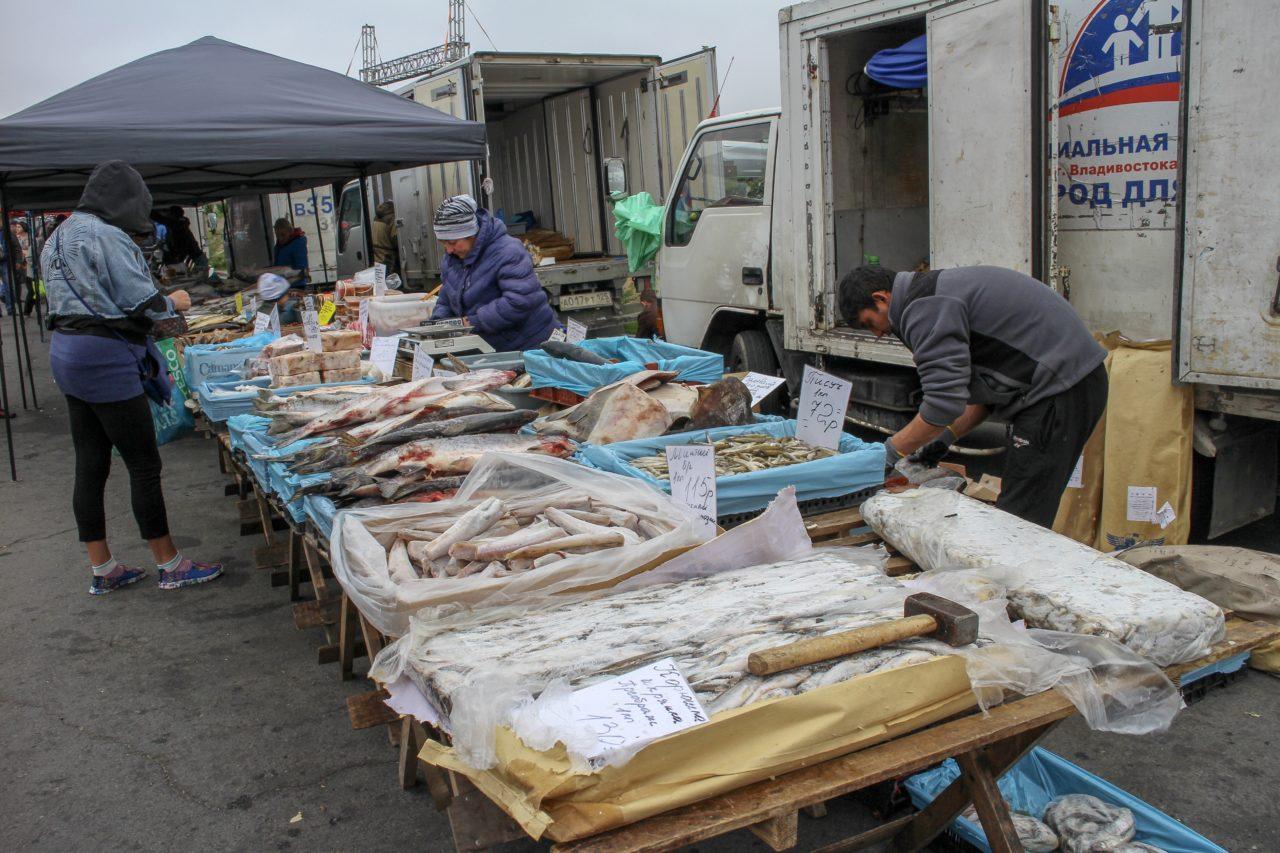 ウラジオストク中央広場の魚