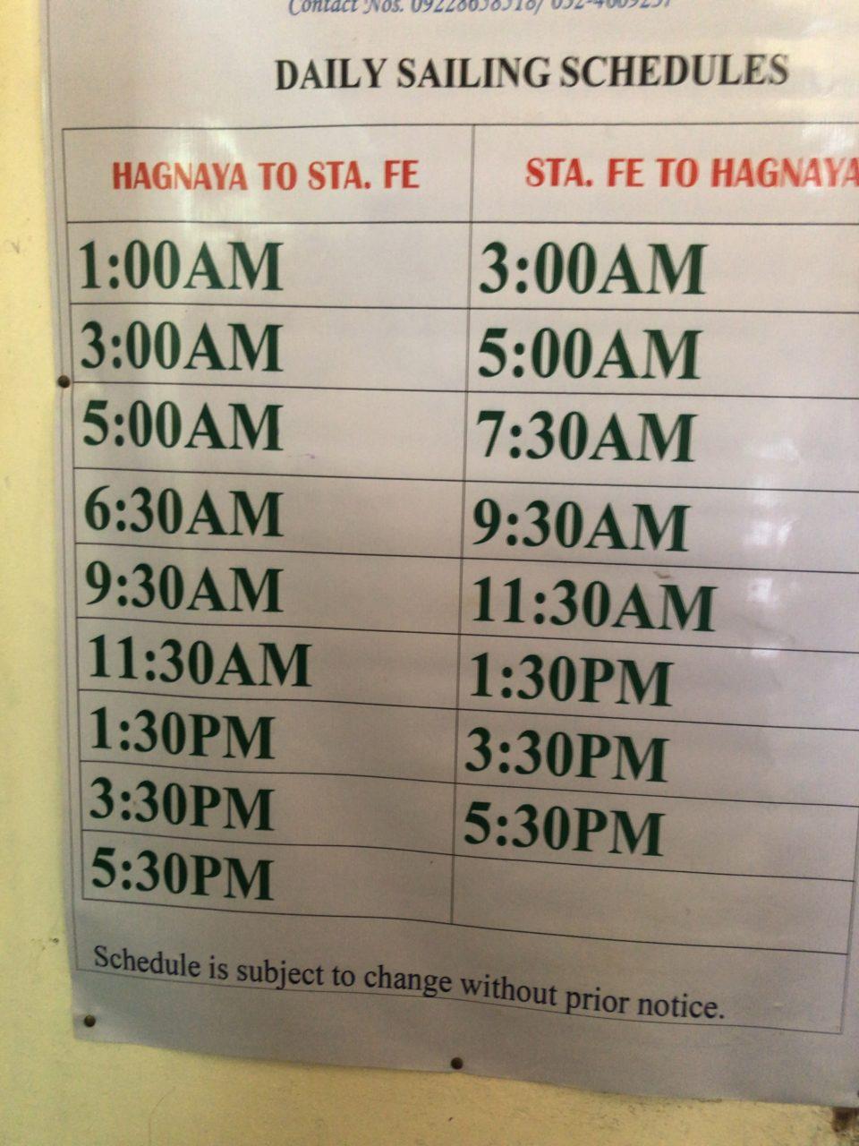 ハグナヤポートのフェリー時刻表1