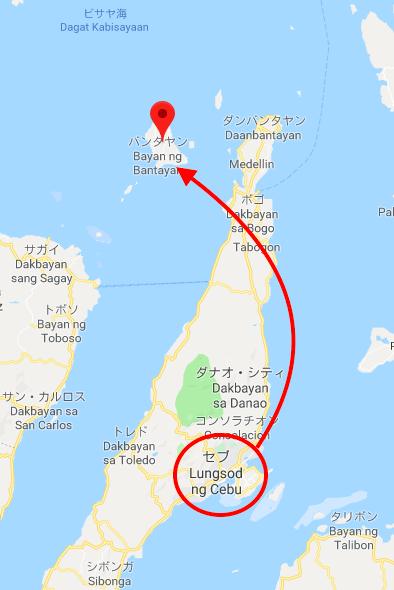 バンタヤンまでのマップ