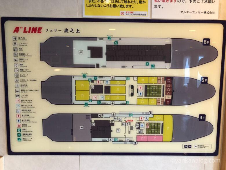 沖縄与論間のフェリー船内図2
